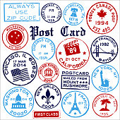 Travel landmark postage and cancellation mail stamps.