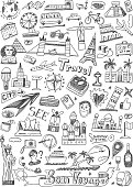 travel landmarks doodles icons in sketch style