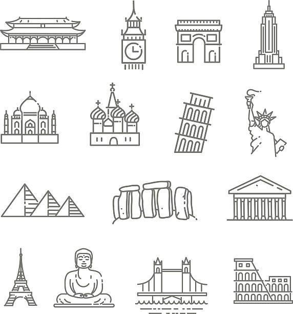 旅行のランドマークラインアイコンセット ベクターアートイラスト