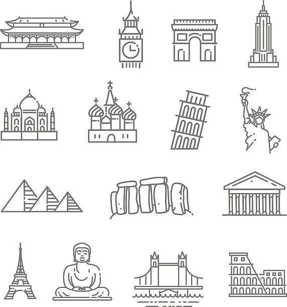travel landmarks line icon set - europe travel stock illustrations, clip art, cartoons, & icons