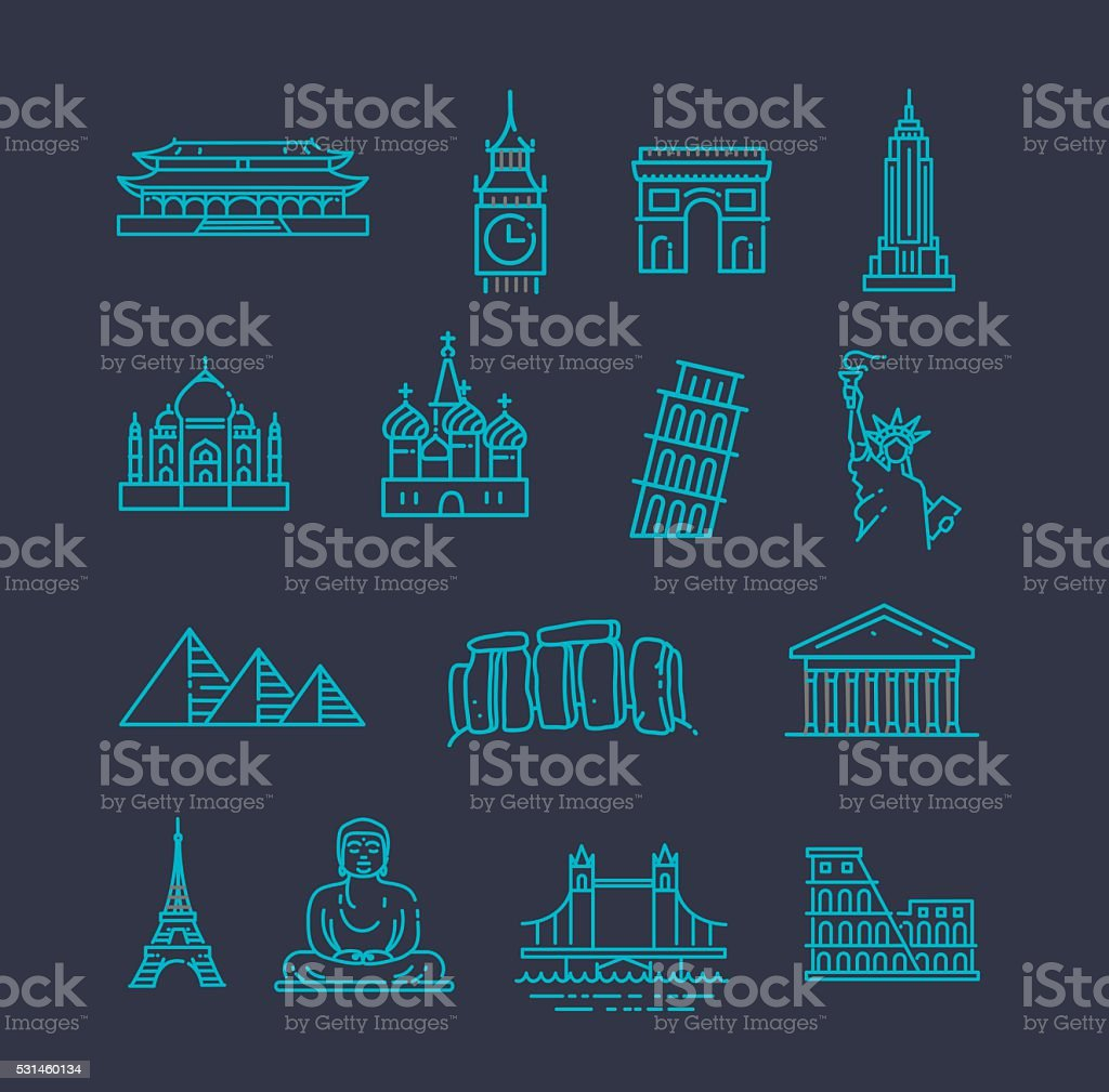 Travel landmarks line icon set vector art illustration