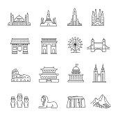 Travel landmarks line icon, santa sophia istanbul, wat arun bangkok, hallgrimskirkja church reykjavik, sagrada familia barcelona, asakusa temple tokyo, arc de triomphe paris,london eye, london bridge, colosseum rome, forbidden city beijing, white house, twin tower malaysia, rapa nui, sphinx egypt, stonehenge, machu picchu
