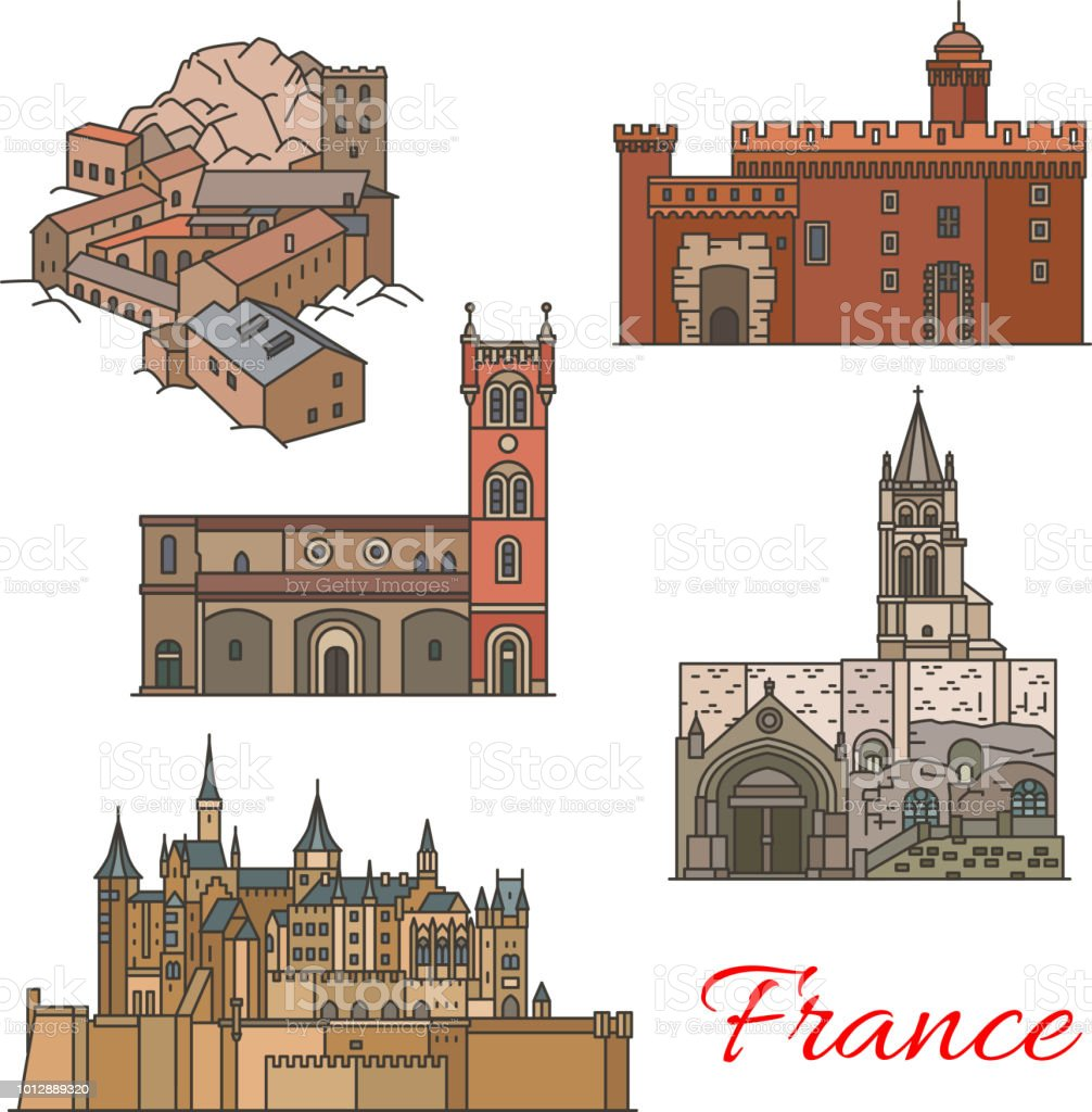 Travel landmarks of France with tourist sights