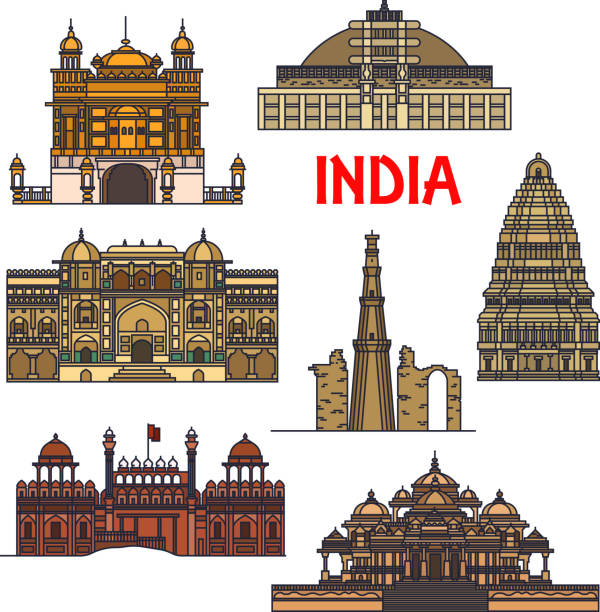 Line Drawing Of Qutub Minar : Royalty free indian temple clip art vector images