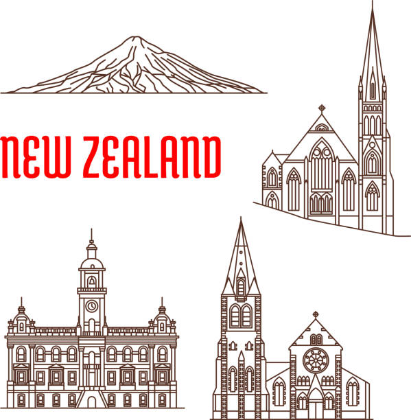 Line Drawing Of New Zealand : Royalty free new zealand mountains clip art vector images