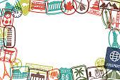 Travel Landmarks Rubber Stamps Grunge Picture Frame Grunge Background