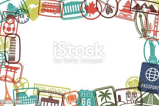 istock Travel Landmarks Rubber Stamps Grunge Picture Frame Grunge Background 1201074493