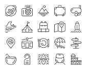 Travel Light Line Icons Vector EPS File.