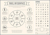 Travel infographic template and elements. The template includes the following set of icons - beach ball, waiter, starfish, towel, dice, bed, luggage, laptop, wifi, card, food and more. Modern minimalistic flat thin line vector design. Beige background with grey line elements.