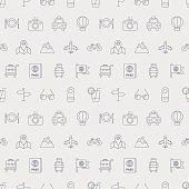 Travel line icon pattern set