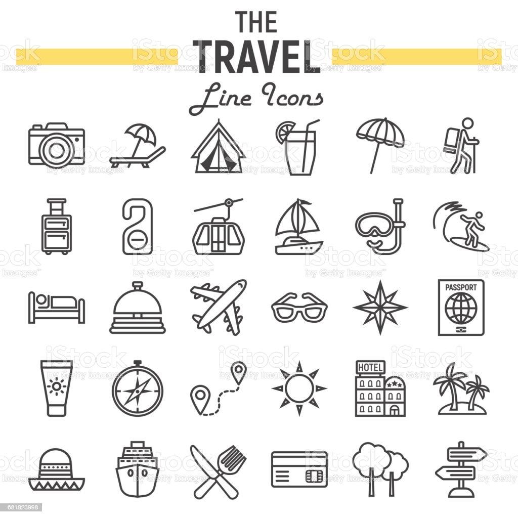 Travel Line Icon Set Tourism Symbols Collection Transportation