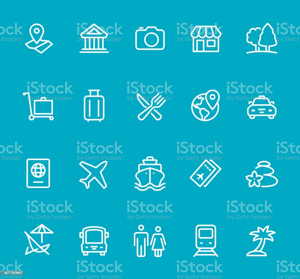 Travel - line icon set vector art illustration