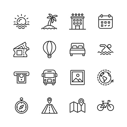 Travel Line Icons. Editable Stroke. Pixel Perfect. For Mobile and Web. Contains such icons as ---.
