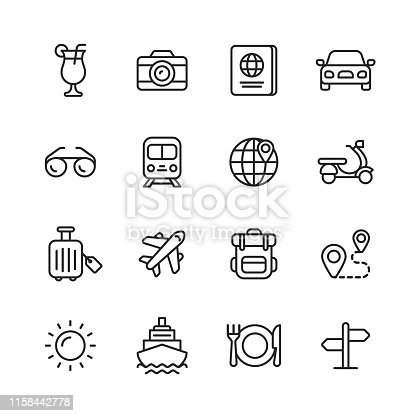 istock Travel Line Icons. Editable Stroke. Pixel Perfect. For Mobile and Web. Contains such icons as ---. 1158442778