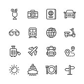 16 Travel Outline Icons.