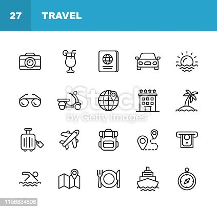istock Travel Line Icons. Editable Stroke. Pixel Perfect. For Mobile and Web. Contains such icons as Camera, Cocktail, Passport, Sunset, Plane, Hotel, Cruise Ship, ATM, Palm Tree, Backpack, Restaurant. 1158834806