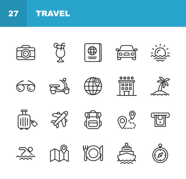 Travel Line Icons. Editable Stroke. Pixel Perfect. For Mobile and Web. Contains such icons as Camera, Cocktail, Passport, Sunset, Plane, Hotel, Cruise Ship, ATM, Palm Tree, Backpack, Restaurant. 20 Travel Outline Icons. hotel stock illustrations