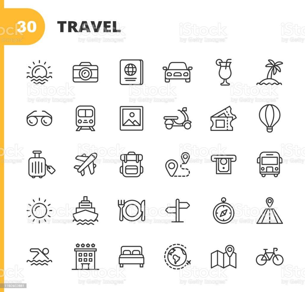 Seyahat Hattı Simgeleri. Kullanılabilir Vuruş. Piksel Mükemmel. Mobil ve Web için. Kamera, Kokteyl, Pasaport, Gün Batımı, Uçak, Otel, Cruise Ship, ATM, Palm Tree, Sırt Çantası, Restoran gibi simgeleri içerir. - Royalty-free ABD Kağıt Parası Vector Art