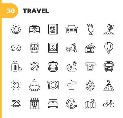 Travel Line Icons. Editable Stroke. Pixel Perfect. For Mobile and Web. Contains such icons as Camera, Cocktail, Passport, Sunset, Plane, Hotel, Cruise Ship, ATM, Palm Tree, Backpack, Restaurant.