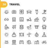 istock Travel Line Icons. Editable Stroke. Pixel Perfect. For Mobile and Web. Contains such icons as Camera, Cocktail, Passport, Sunset, Plane, Hotel, Cruise Ship, ATM, Palm Tree, Backpack, Restaurant. 1192922881