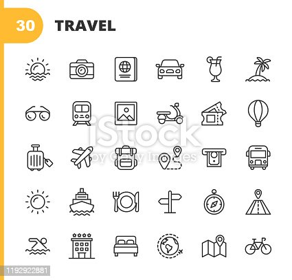 30 Travel Outline Icons.