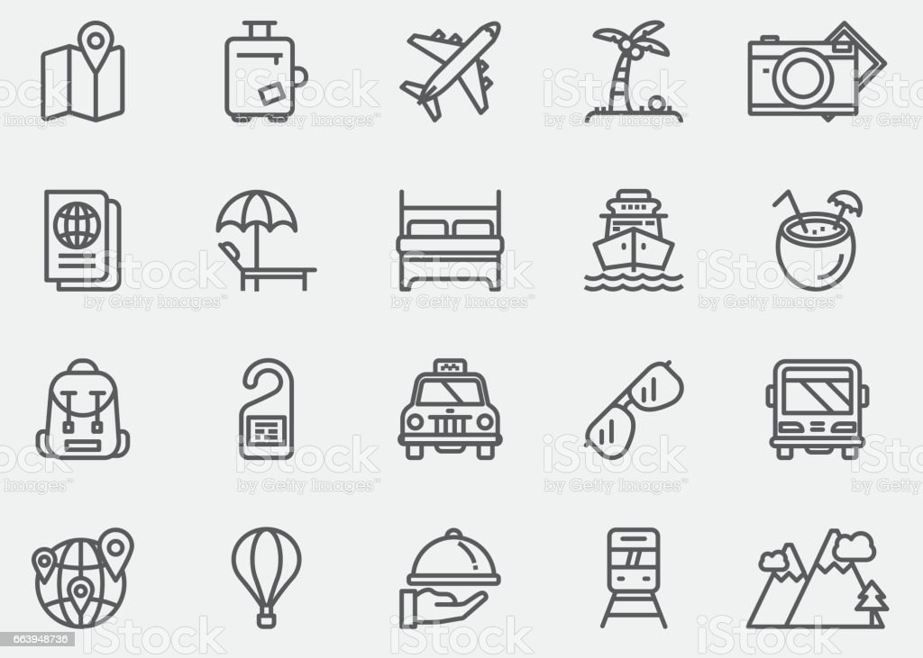 Travel Line Icons | EPS 10 - illustrazione arte vettoriale