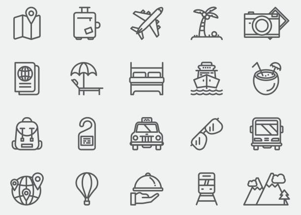 Travel Line Icons | EPS 10 vector art illustration