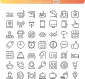 Icon set for Web and Mobile. Sight, hotel and food