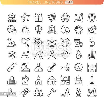 Icon set for Web and Mobile. Beach, Mountains and Sights.