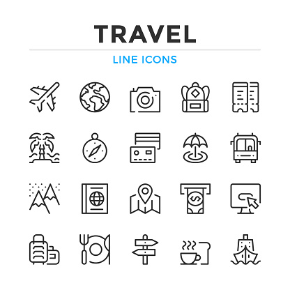 Travel line icons set. Modern outline elements, graphic design concepts. Stroke, linear style. Simple symbols collection. Vector line icons