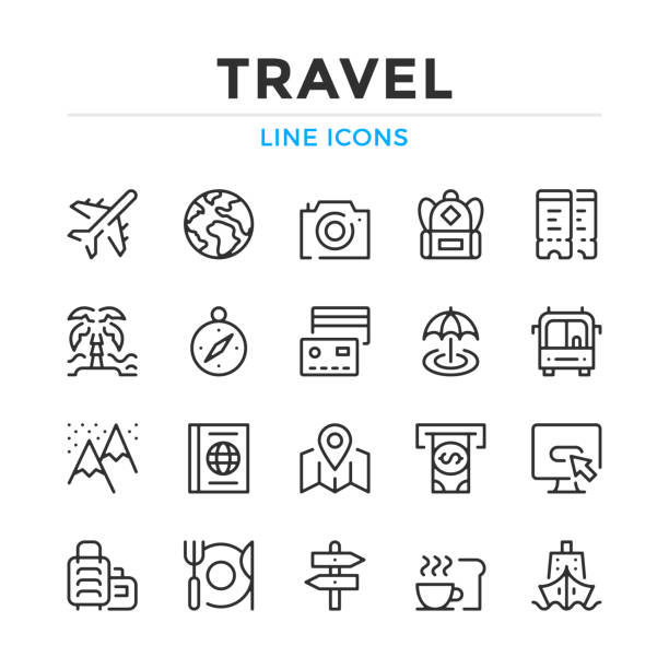 ustawiono ikony linii podróży. nowoczesne elementy konspektu, koncepcje graficzne. obrys, styl liniowy. kolekcja prostych symboli. ikony linii wektorowych - podróżowanie stock illustrations