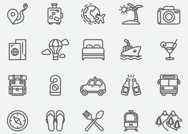 ikony linii podróży - podróżowanie stock illustrations