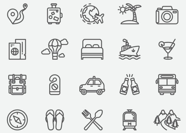 Travel Line Icons Travel Line Icons airplane symbols stock illustrations