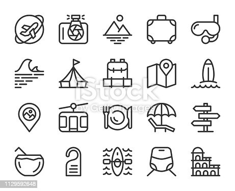 Travel Line Icons Vector EPS File.