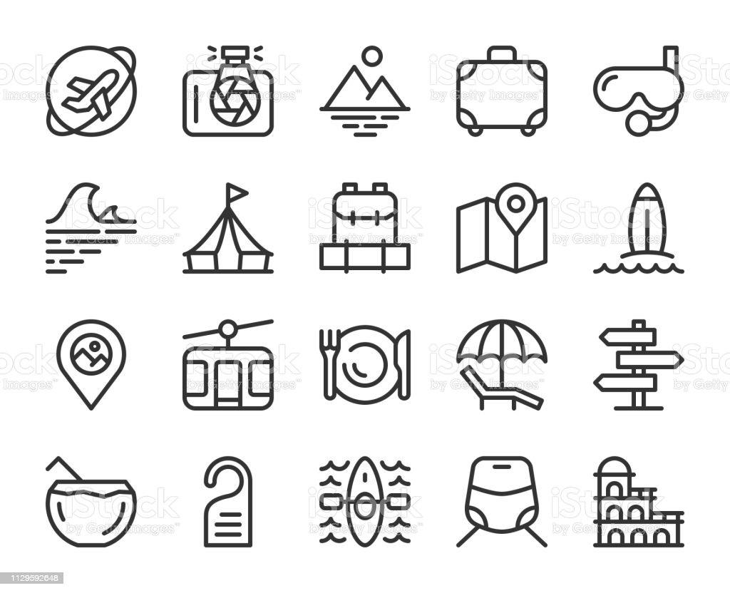 Travel - Line Icons vector art illustration