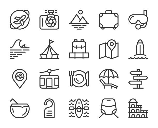 Travel - Line Icons Travel Line Icons Vector EPS File. adventure icons stock illustrations