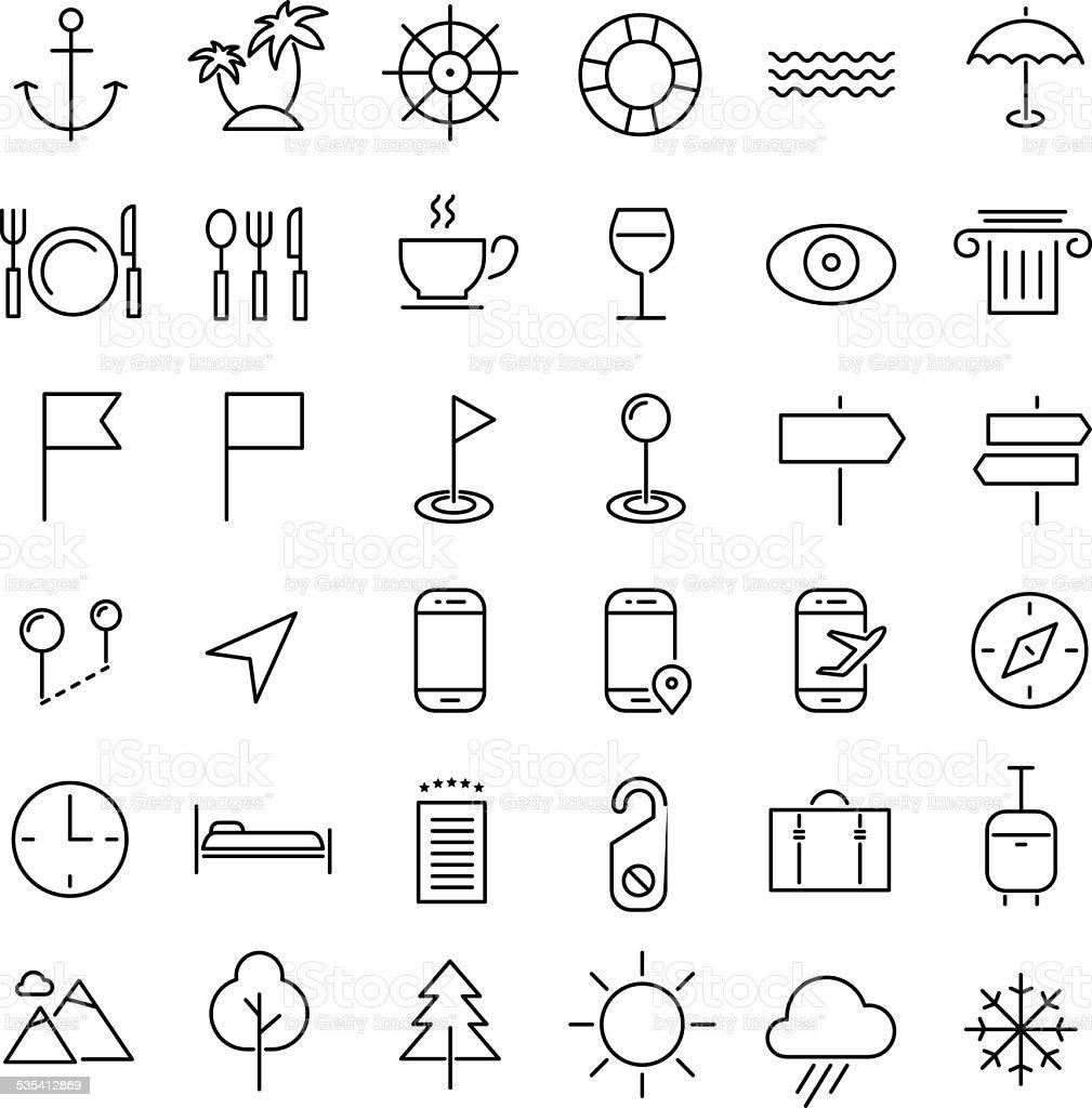 Travel line icons vector art illustration