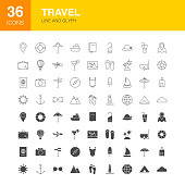 Travel Line Web Glyph Icons. Vector Illustration of Summer Outline and Solid Symbols.