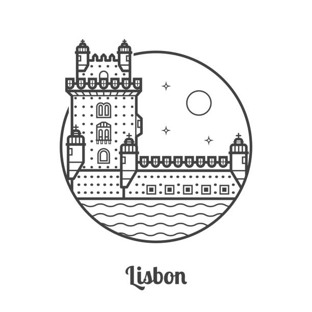 travel lisbon icon - lizbona stock illustrations