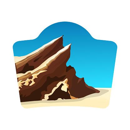 travel logo concept with vasquez rocks, blue sky
