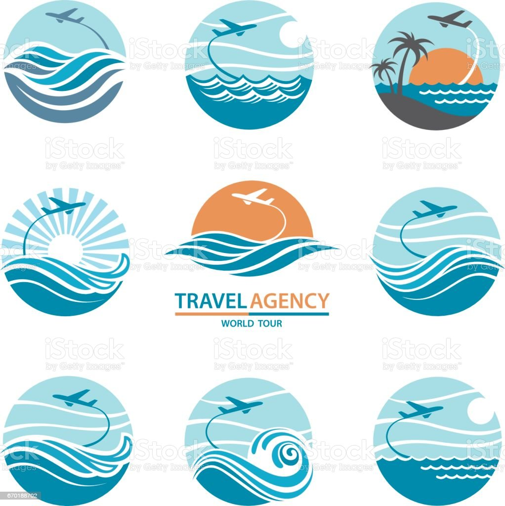 travel logo set vector art illustration
