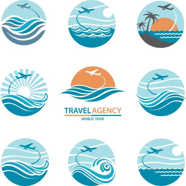 logo-reiseset - reisebüro stock-grafiken, -clipart, -cartoons und -symbole