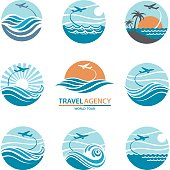 travel logo set