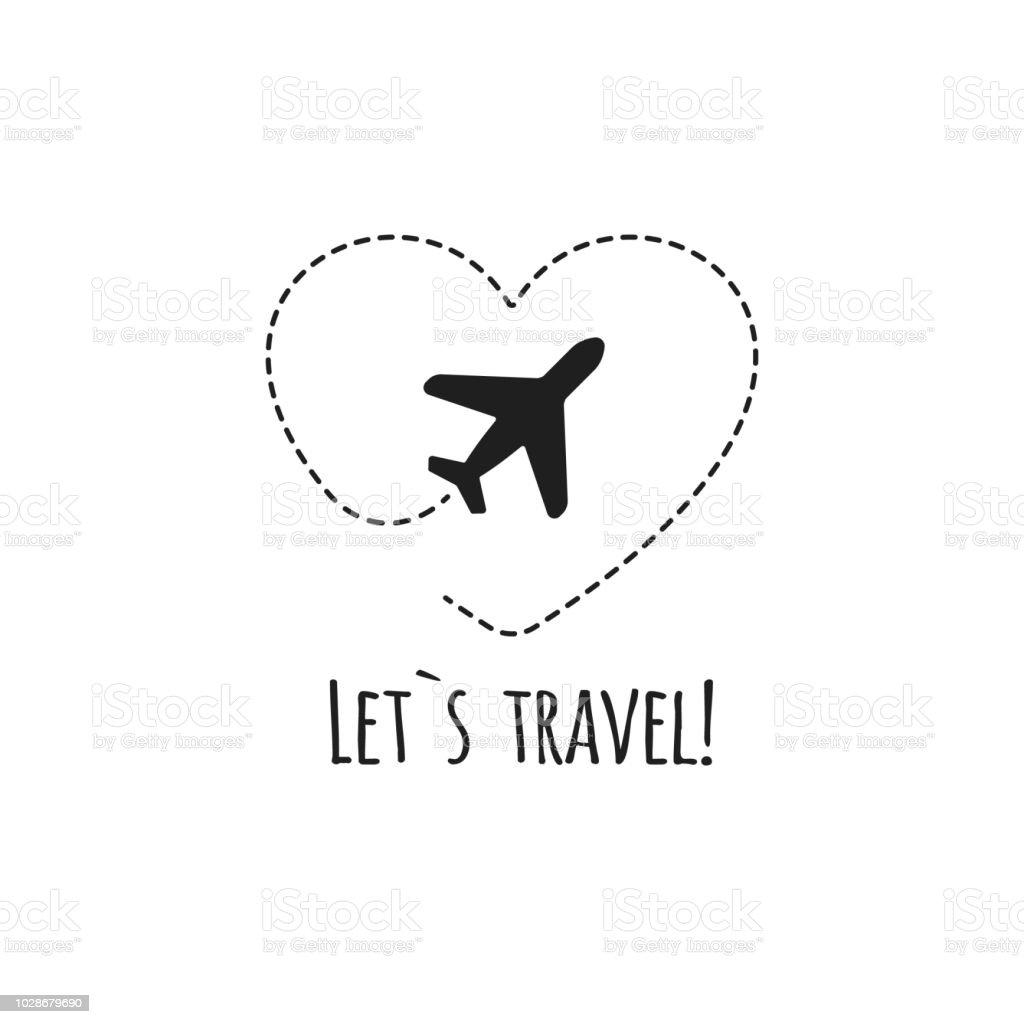 Vintage Adventure Logo: Travel Logo Vector Illustration Black Airplane Stock