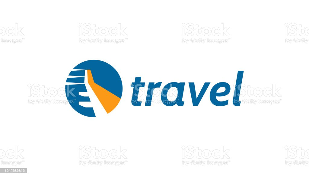 Travel logo with plane wing concept. vector art illustration