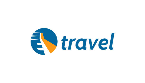 travel logo with plane wing concept. - commercial airplane stock illustrations