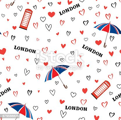 istock Travel London city seamless pattern with love hearts and umbrell 679588826