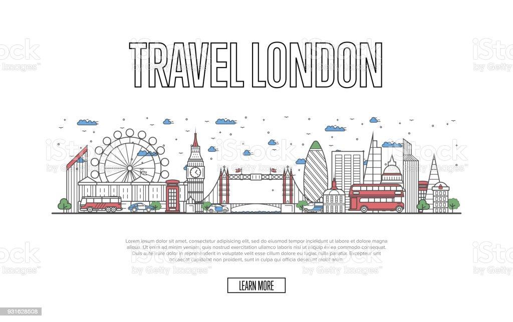 Travel London poster in linear style vector art illustration