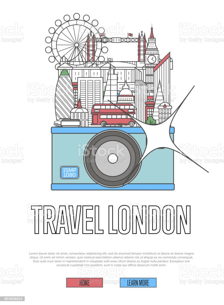 Travel London poster with camera vector art illustration