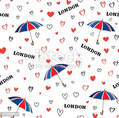 istock Travel London seamless pattern with love hearts and umbrella. Br 679588850